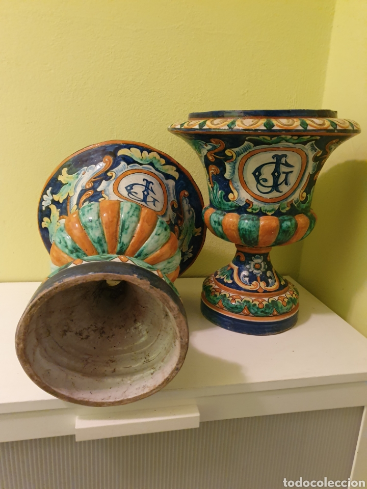 Antigüedades: EXCEPCIONAL PAREJA DE JARRONES MACETEROS REMATES S.XIX TRIANA (SEVILLA) - Foto 4 - 179072816