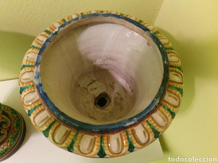 Antigüedades: IMPRESIONANTE PAREJA DE JARRONES MACETEROS REMATES S.XIX TRIANA (SEVILLA) - Foto 7 - 179072816