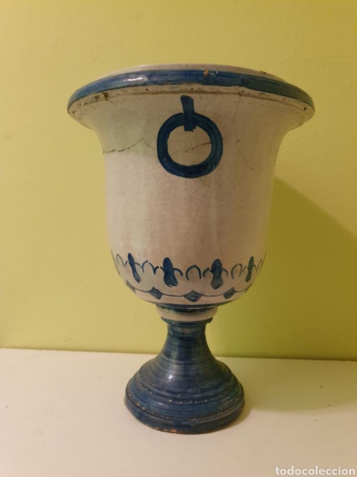 Antigüedades: ANTIGUO JARRON MACETERO REMATE CERÁMICA S.XIX (TRIANA) - Foto 2 - 179074613
