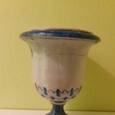 Antigüedades: ANTIGUO JARRON MACETERO REMATE CERÁMICA S.XIX (TRIANA). Lote 179074613