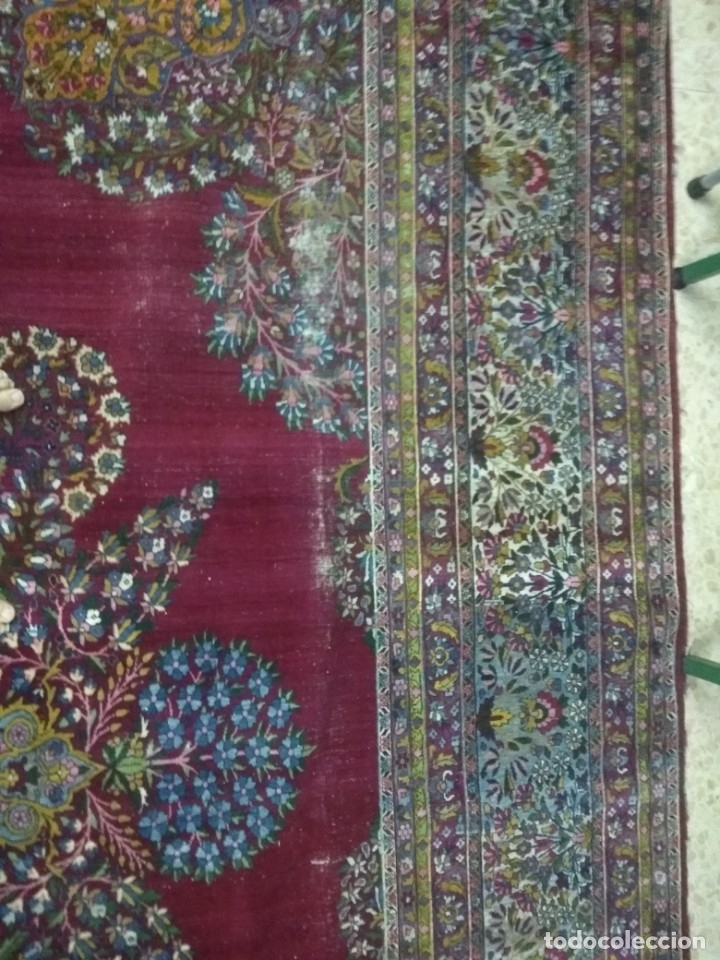Antigüedades: Alfombra persa de 3.5 x 4 metros color burdeos - Foto 2 - 123249975