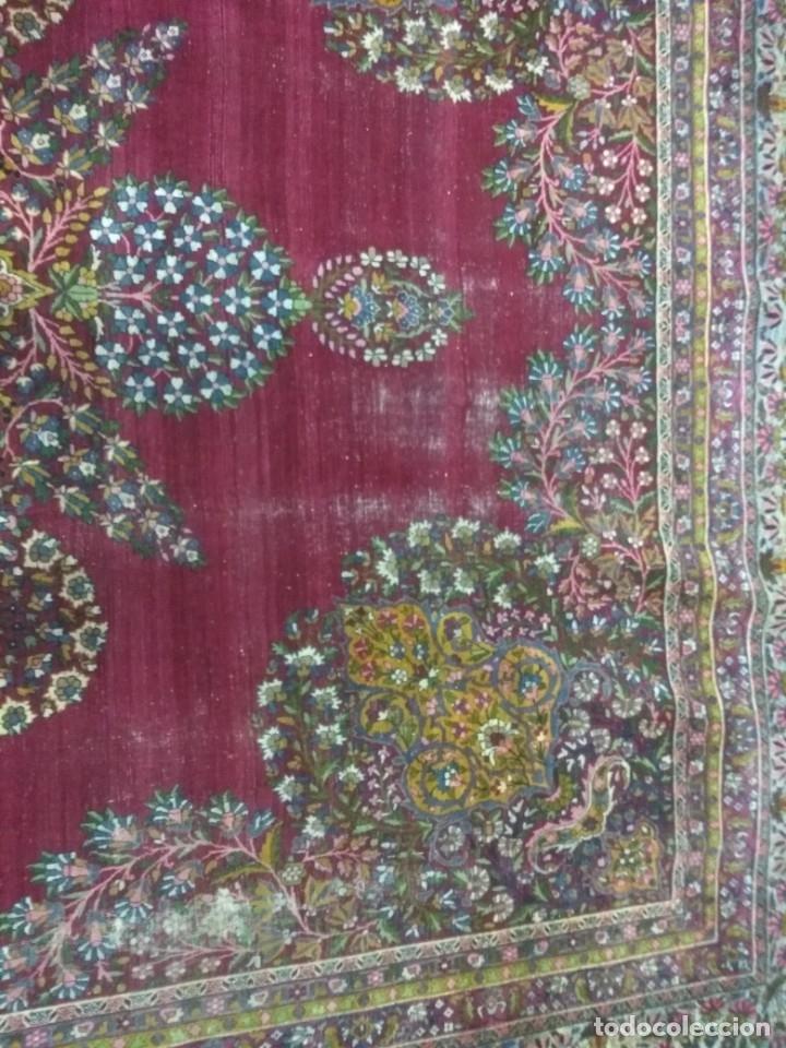 Antigüedades: Alfombra persa de 3.5 x 4 metros color burdeos - Foto 6 - 123249975