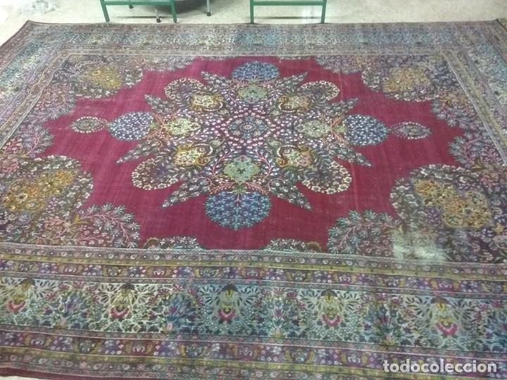 Antigüedades: Alfombra persa de 3.5 x 4 metros color burdeos - Foto 7 - 123249975