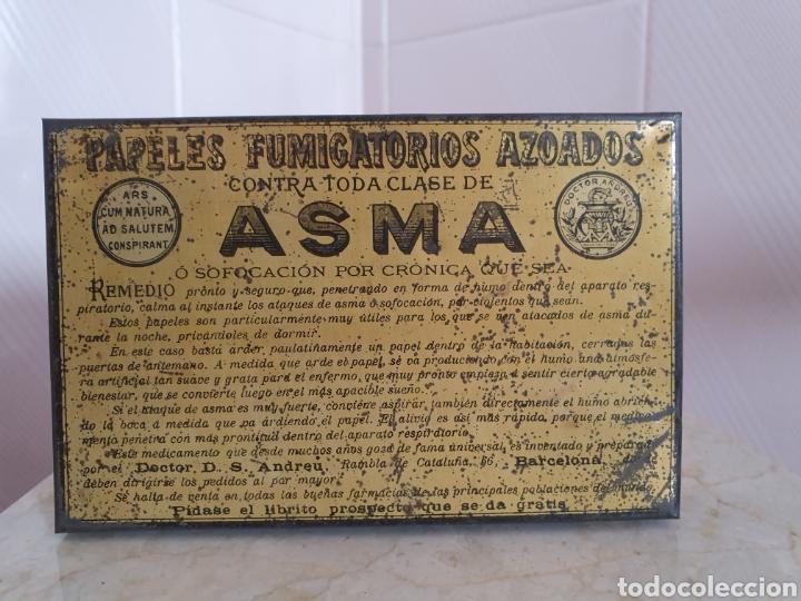 Antigüedades: ANTIGUA CAJA METALICA CONTRA EL ASMA DOCTOR D S.ANDREU - Foto 2 - 179085290
