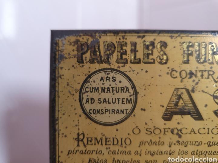 Antigüedades: ANTIGUA CAJA METALICA CONTRA EL ASMA DOCTOR D S.ANDREU - Foto 3 - 179085290