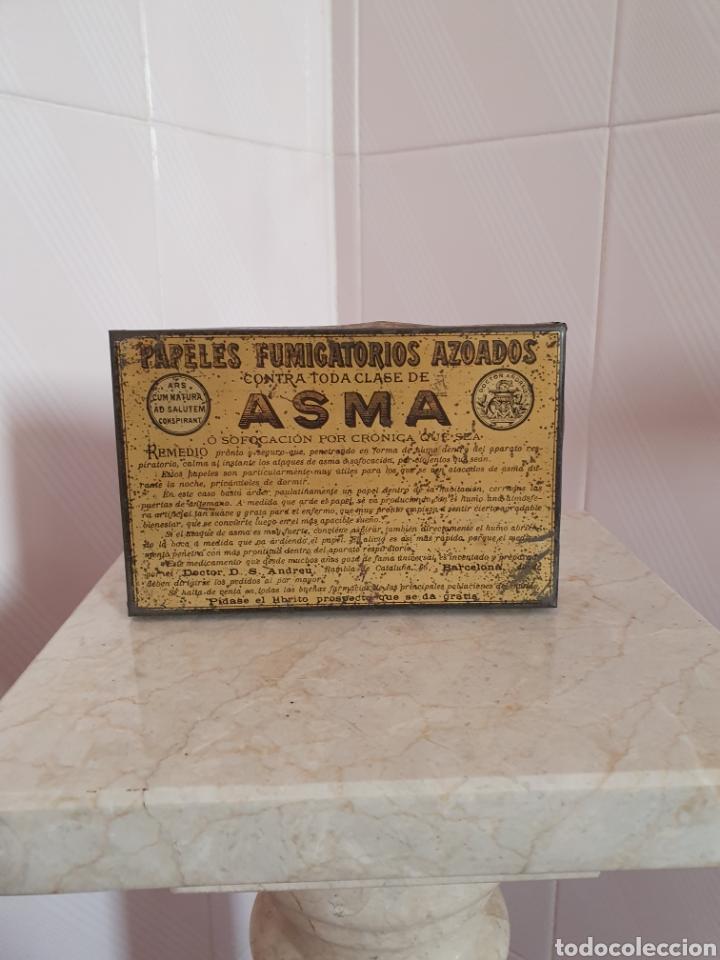 ANTIGUA CAJA METALICA CONTRA EL ASMA DOCTOR D S.ANDREU (Antigüedades - Cristal y Vidrio - Farmacia )