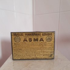 Antigüedades: ANTIGUA CAJA METALICA CONTRA EL ASMA DOCTOR D S.ANDREU. Lote 179085290