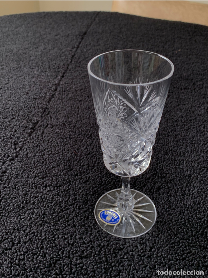 COPAS ANTIGUAS CRISTAL DE BOHEMIA TALLADO A MANO (Antigüedades - Cristal y Vidrio - Bohemia)
