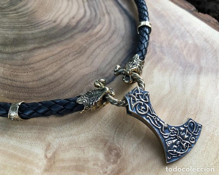 Antigüedades: Viking Necklace With Thor Hammer Amulet - Viking Jewelry Set - Mjölnir Amulet - Viking Necklace With - Foto 3 - 179109652