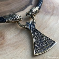 Antigüedades: VIKING NECKLACE WITH MAMMEN AXE AMULET - VIKING JEWELRY SET - VIKING MAMMEN AXE PENDANT - VIKING NEC. Lote 179110162
