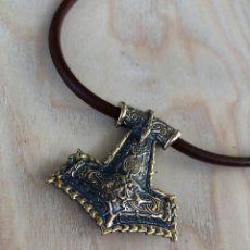 Antigüedades: THOR HAMMER PENDANT - BRONZE VIKING JEWELRY - HAMMER OF THOR -. Lote 179112560
