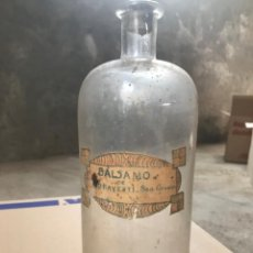 Antigüedades: BOTELLA DE FARMACIA BALSAMO. Lote 179117906