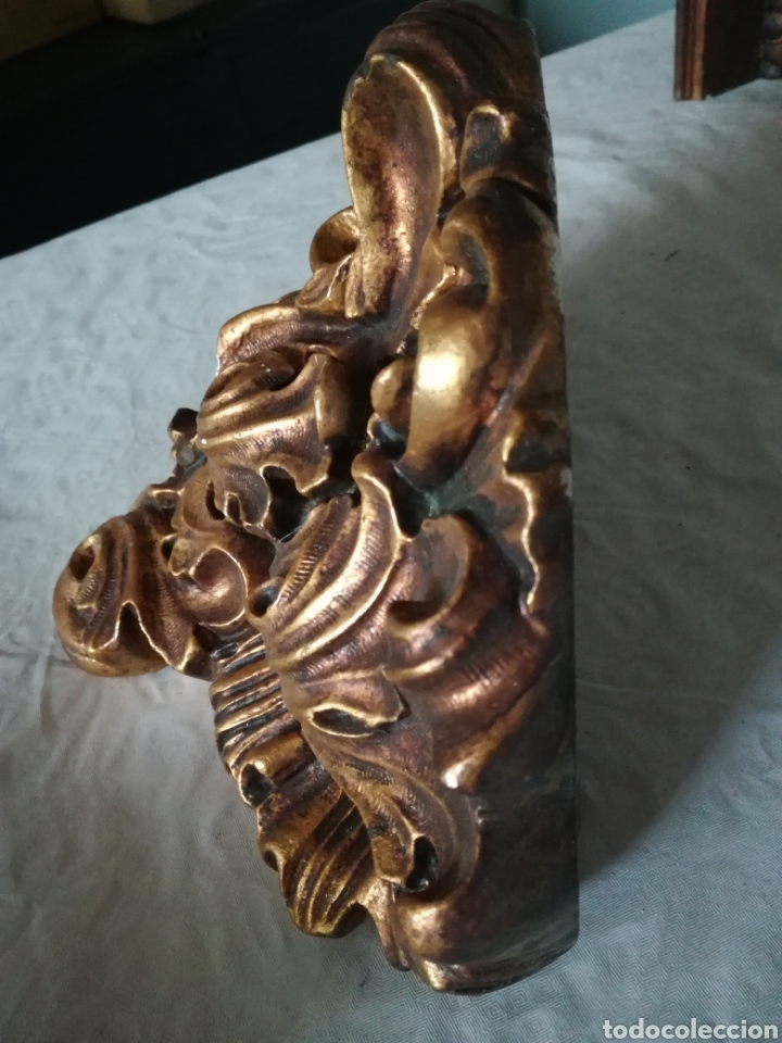 Antigüedades: Ménsula de escayola dorada. Peana - Foto 2 - 179118098
