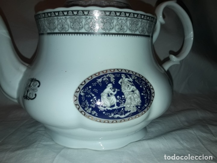 Antigüedades: Bella Tetera Belle Epoque Fine Porcelana decoración plata - Foto 2 - 253065290