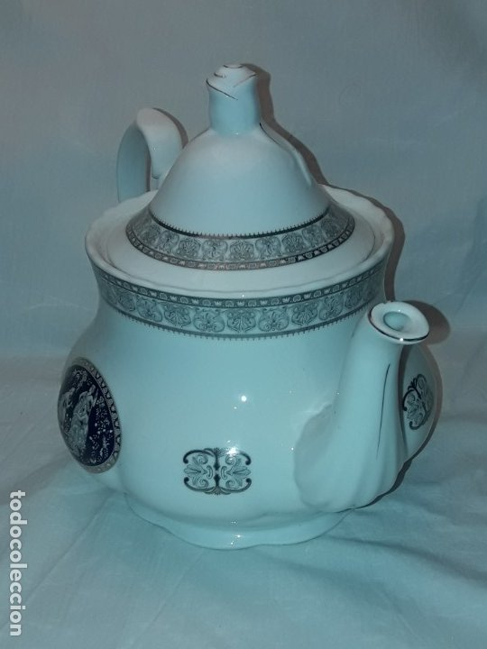 Antigüedades: Bella Tetera Belle Epoque Fine Porcelana decoración plata - Foto 11 - 253065290