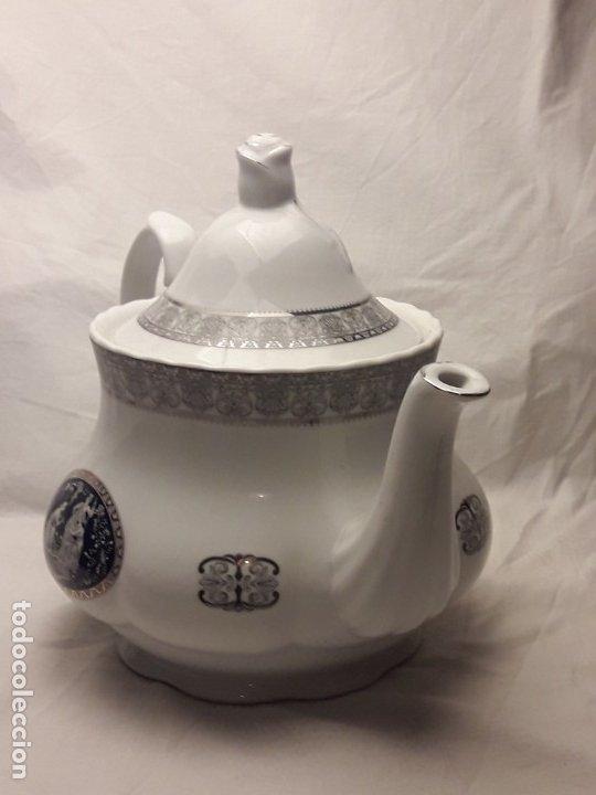 Antigüedades: Bella Tetera Belle Epoque Fine Porcelana decoración plata - Foto 5 - 253065290