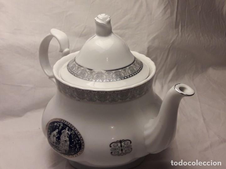 Antigüedades: Bella Tetera Belle Epoque Fine Porcelana decoración plata - Foto 8 - 253065290