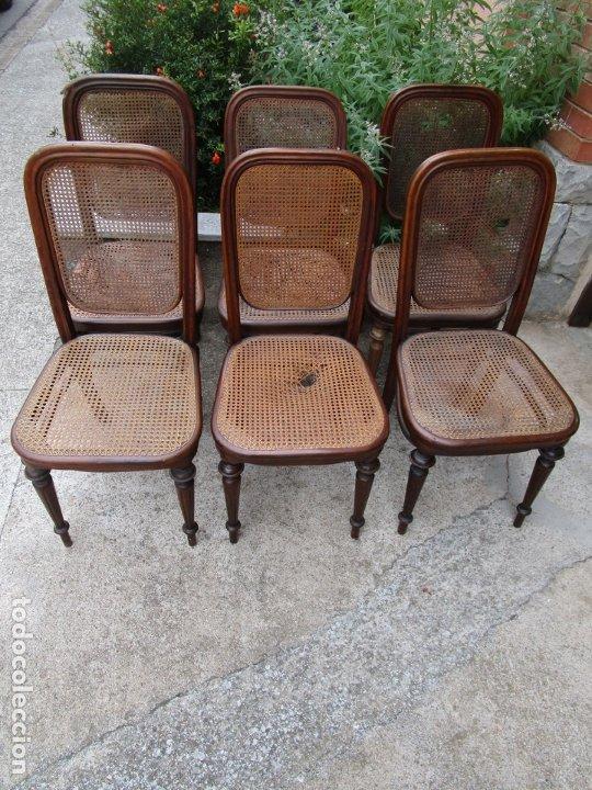 Antigüedades: Curiosas 6 Sillas Originales - Silla, Sello y Etiqueta Thonet, Austria - Madera Curva - Rejilla - Foto 28 - 179129371