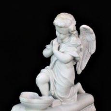 Antigüedades: PRECIOSA BENDITERA ANGEL EN GRAN TAMAÑO, PORCELANA BISCUIT. FRANCIA HACIA 1940. Lote 179130761