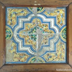 Antigüedades: COMPOSICIÓN DE 4 AZULEJOS BARROCOS. CERÁMICA CATALANA. SIGLO XVII-XVIII.. Lote 179133293