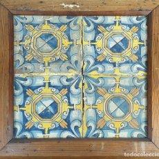 Antigüedades: COMPOSICIÓN DE 4 AZULEJOS BARROCOS. CERÁMICA CATALANA. SIGLO XVII-XVIII. . Lote 179136062
