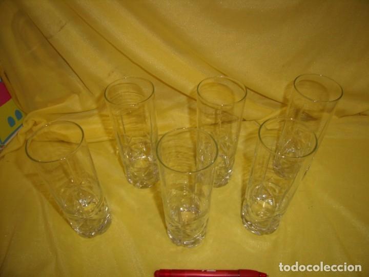 Antigüedades: Vasos de tubo cristal tallado al ácido estrella, años 80, 6 unidades, Nuevos sin usar. - Foto 2 - 179136096