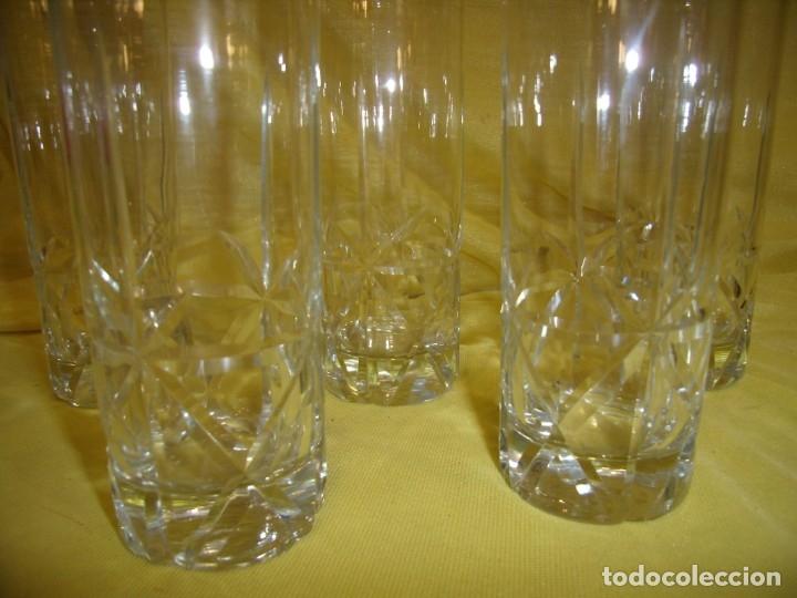 Antigüedades: Vasos de tubo cristal tallado al ácido estrella, años 80, 6 unidades, Nuevos sin usar. - Foto 3 - 179136096