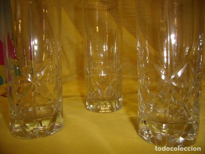 Antigüedades: Vasos de tubo cristal tallado al ácido estrella, años 80, 6 unidades, Nuevos sin usar. - Foto 4 - 179136096