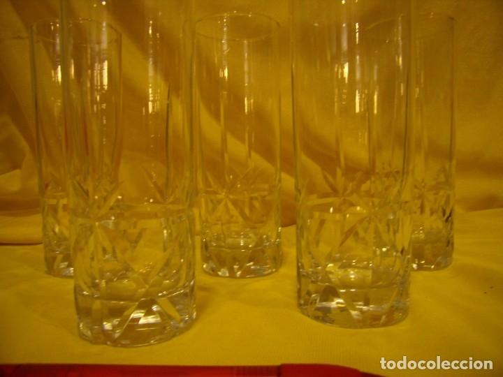 Antigüedades: Vasos de tubo cristal tallado al ácido estrella, años 80, 6 unidades, Nuevos sin usar. - Foto 5 - 179136096
