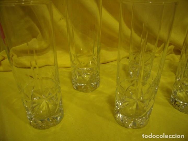 Antigüedades: Vasos de tubo cristal tallado al ácido estrella, años 80, 6 unidades, Nuevos sin usar. - Foto 6 - 179136096