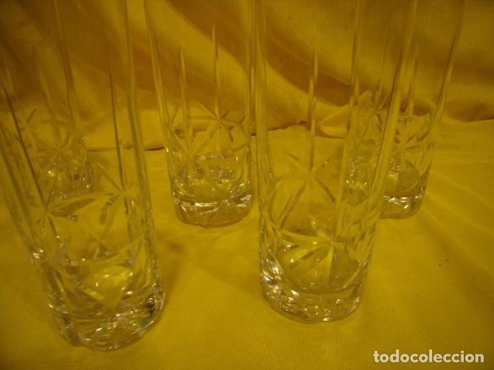 Antigüedades: Vasos de tubo cristal tallado al ácido estrella, años 80, 6 unidades, Nuevos sin usar. - Foto 7 - 179136096