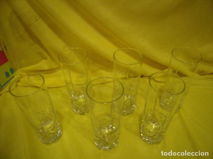 Antigüedades: Vasos de tubo cristal tallado al ácido estrella, años 80, 6 unidades, Nuevos sin usar. - Foto 8 - 179136096