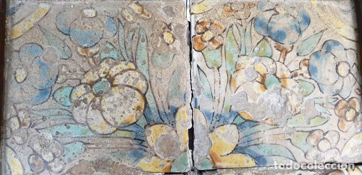 Antigüedades: COMPOSICIÓN DE 4 AZULEJOS BARROCOS. CERÁMICA CATALANA. SIGLO XVII-XVIII. - Foto 3 - 179137462