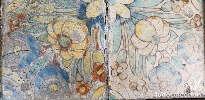 Antigüedades: COMPOSICIÓN DE 4 AZULEJOS BARROCOS. CERÁMICA CATALANA. SIGLO XVII-XVIII. - Foto 4 - 179137462