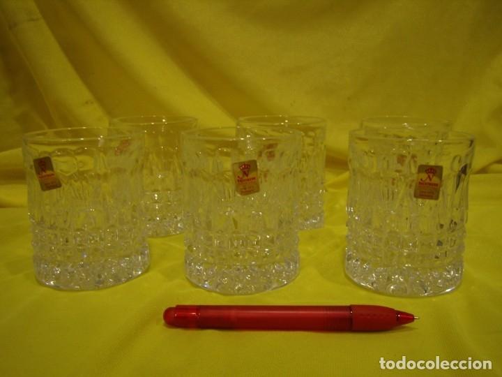 Antigüedades: Juego Whisky cristal tallado con cubitera, Alemán 24% PBO plomo de Nachtmann, 7 unid,Nuevo sin usar. - Foto 3 - 179138530
