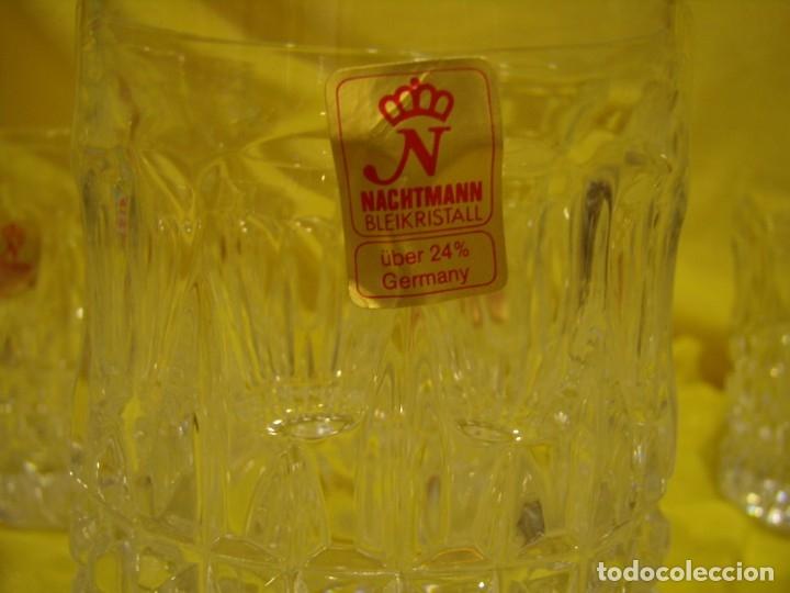 Antigüedades: Juego Whisky cristal tallado con cubitera, Alemán 24% PBO plomo de Nachtmann, 7 unid,Nuevo sin usar. - Foto 6 - 179138530