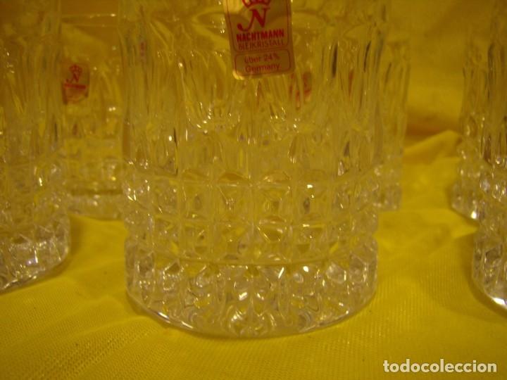 Antigüedades: Juego Whisky cristal tallado con cubitera, Alemán 24% PBO plomo de Nachtmann, 7 unid,Nuevo sin usar. - Foto 9 - 179138530