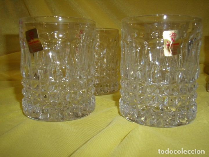 Antigüedades: Juego Whisky cristal tallado con cubitera, Alemán 24% PBO plomo de Nachtmann, 7 unid,Nuevo sin usar. - Foto 11 - 179138530