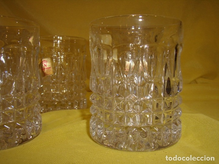 Antigüedades: Juego Whisky cristal tallado con cubitera, Alemán 24% PBO plomo de Nachtmann, 7 unid,Nuevo sin usar. - Foto 17 - 179138530