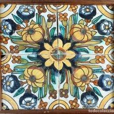 Antigüedades: COMPOSICIÓN DE 4 AZULEJOS BARROCOS. CERÁMICA CATALANA. SIGLO XVII-XVIII.. Lote 179138533