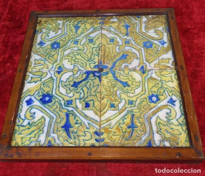 Antigüedades: CONJUNTO DE AZULEJOS SIGLO XIX. CERÁMICA. ESMALTE CUERDA SECA. ESPAÑA. - Foto 2 - 179139688