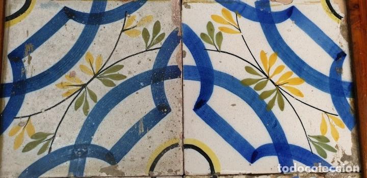 Antigüedades: COMPOSICIÓN DE 4 AZULEJOS. CERÁMICA CATALANA ESMALTADA. SIGLO XVIII-XIX. - Foto 3 - 179140328