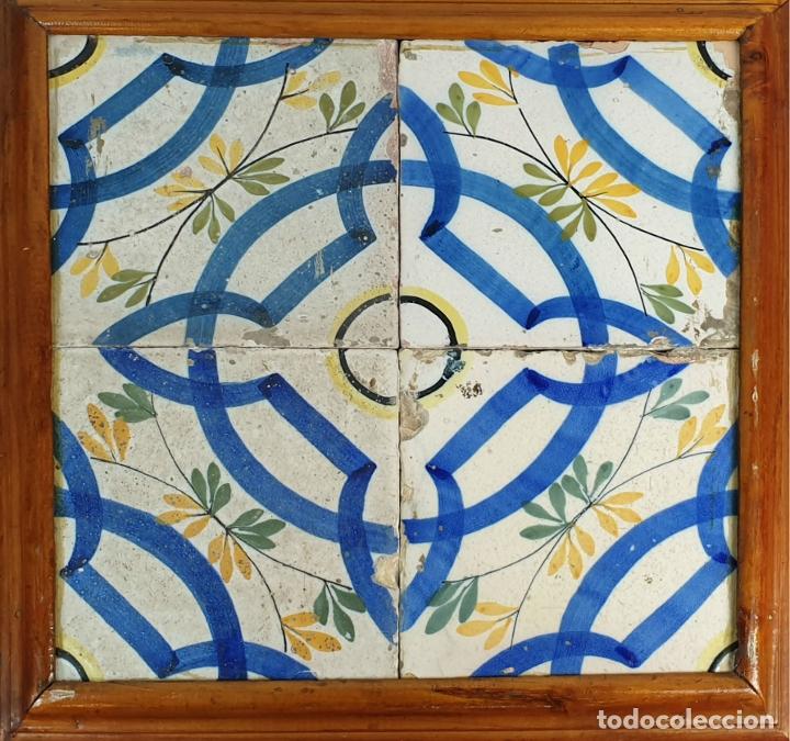 COMPOSICIÓN DE 4 AZULEJOS. CERÁMICA CATALANA ESMALTADA. SIGLO XVIII-XIX. (Antigüedades - Porcelanas y Cerámicas - Azulejos)