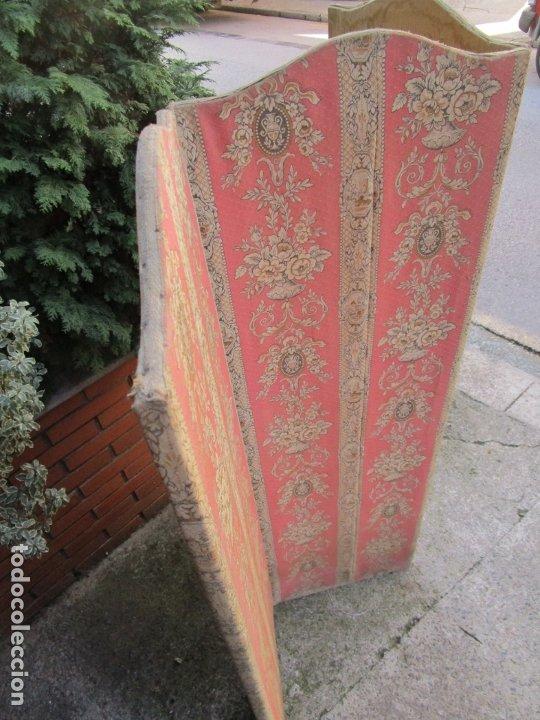Antigüedades: Antiguo Biombo - 3 Hojas - Tapizado en Tela - Separador - Principios S. XX - Foto 3 - 179142822