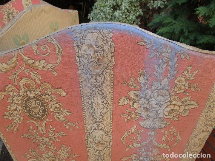 Antigüedades: Antiguo Biombo - 3 Hojas - Tapizado en Tela - Separador - Principios S. XX - Foto 4 - 179142822