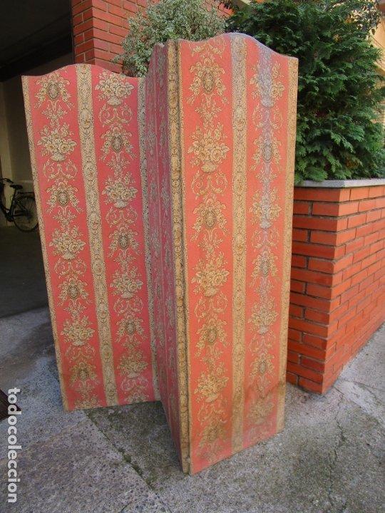 Antigüedades: Antiguo Biombo - 3 Hojas - Tapizado en Tela - Separador - Principios S. XX - Foto 8 - 179142822