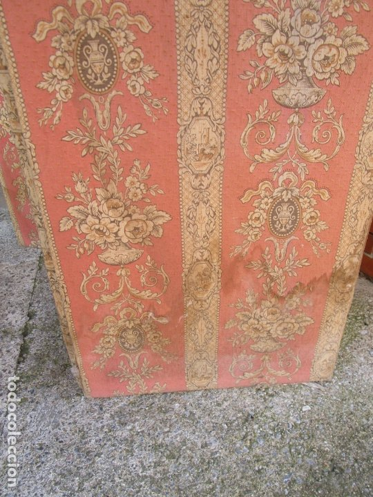 Antigüedades: Antiguo Biombo - 3 Hojas - Tapizado en Tela - Separador - Principios S. XX - Foto 9 - 179142822