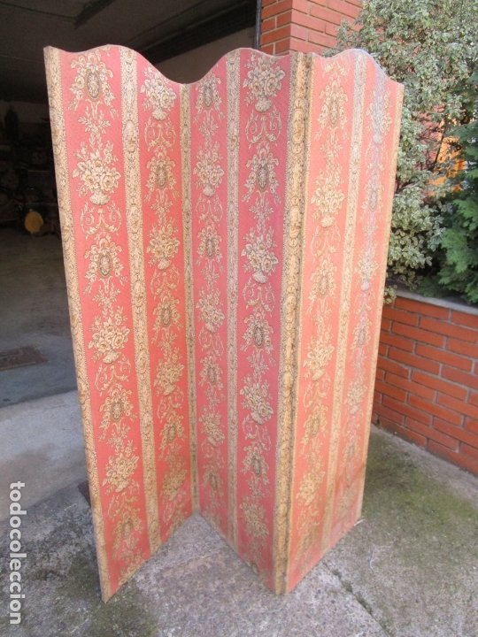 Antigüedades: Antiguo Biombo - 3 Hojas - Tapizado en Tela - Separador - Principios S. XX - Foto 13 - 179142822