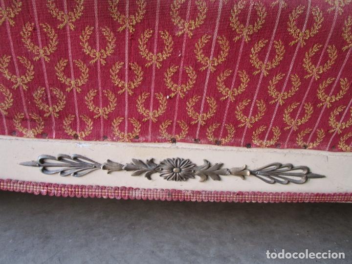 Antigüedades: Bonito Sofá, Tresillo Estilo Imperio - Madera de Caoba - Laca Blanca - Decoraciones en Bronce - Foto 9 - 179144808