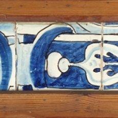 Antigüedades: CONJUNTO DE 5 AZULEJOS GÓTICOS. AZUL COBALTO. MOTIVOS VEGETALES. SIGLO XVI.. Lote 179146617
